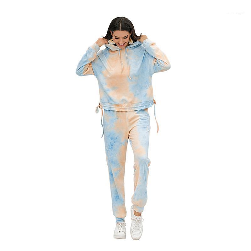 Haut à capuche Pantalon longueur cheville Femmes Deux Piece Outfit Set Femmes Tie Dye Survêtements Casual manches longues