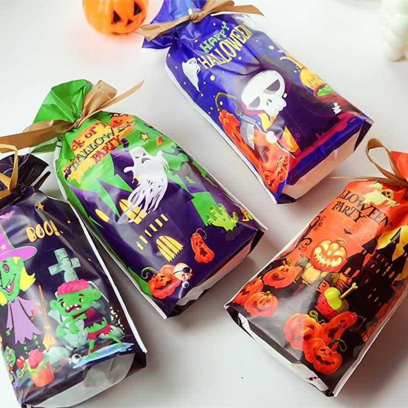 50pcs Şeker Çanta Halloween PumpkinPlastic Çanta Düğün Doğum Çerez Şeker Hediye Paketleme Çanta Parti Ev Dekorasyonu Cocina Favors