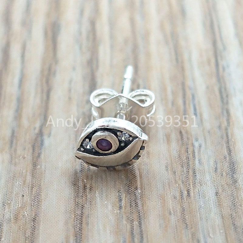 Autentico 925 perline in argento sterling 925 il mio occhio singolo orecchino per borchie charms adatti collana di braccialetti di gioielli in stile Pandora europeo 298554C01