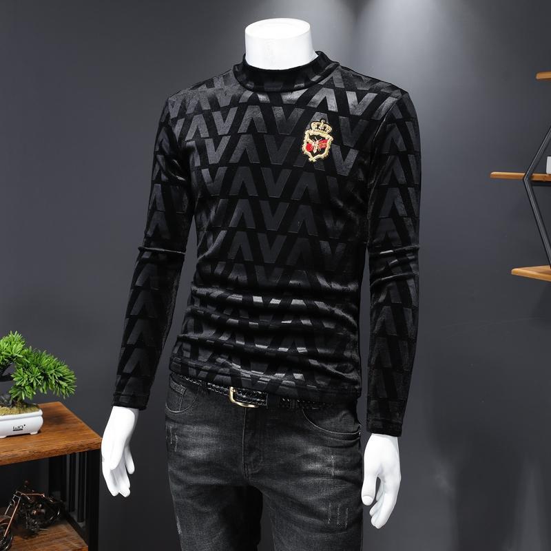 Модные пчелы золота бархат тиснением свитер мужской осень 2020 новый модный бренд тонкий большой размер с длинными рукавами футболки мужчин