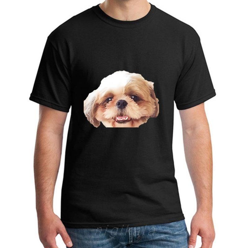 Imprimer Shih Tzu T-shirt pour les hommes et les femmes 100% coton Impressionnant Loisirs Hommes Femmes T-shirts Vêtements Top Tee