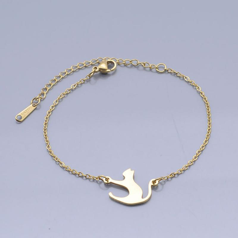 100% Stainless Steel Dainty Running Kitty Cat Charm Bracelet For Women Wholesale High Polished Bracelets Factory Sale