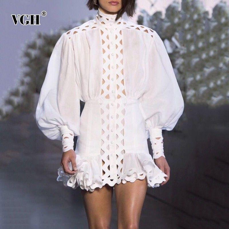 VGH Yaz İnce Bir Çizgi Kadın Elbise Standı Yaka Uzun Fener Kol Yüksek Bel Hollow Out Mini Elbiseler Kadın Moda Yeni 200929