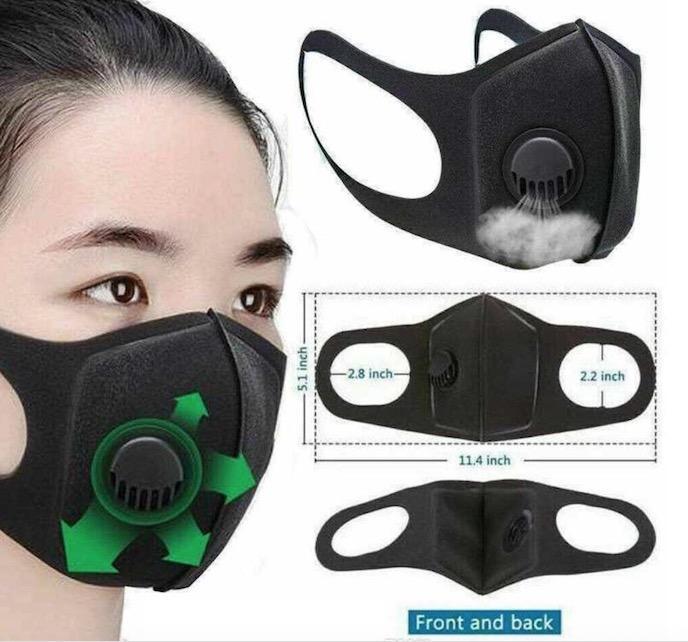 Дизайнер маска с Дыхательные клапаны моющийся многоразовый ткань Дети взрослых Маски Хлопок Черный Mascarillas Защитная маска для лица