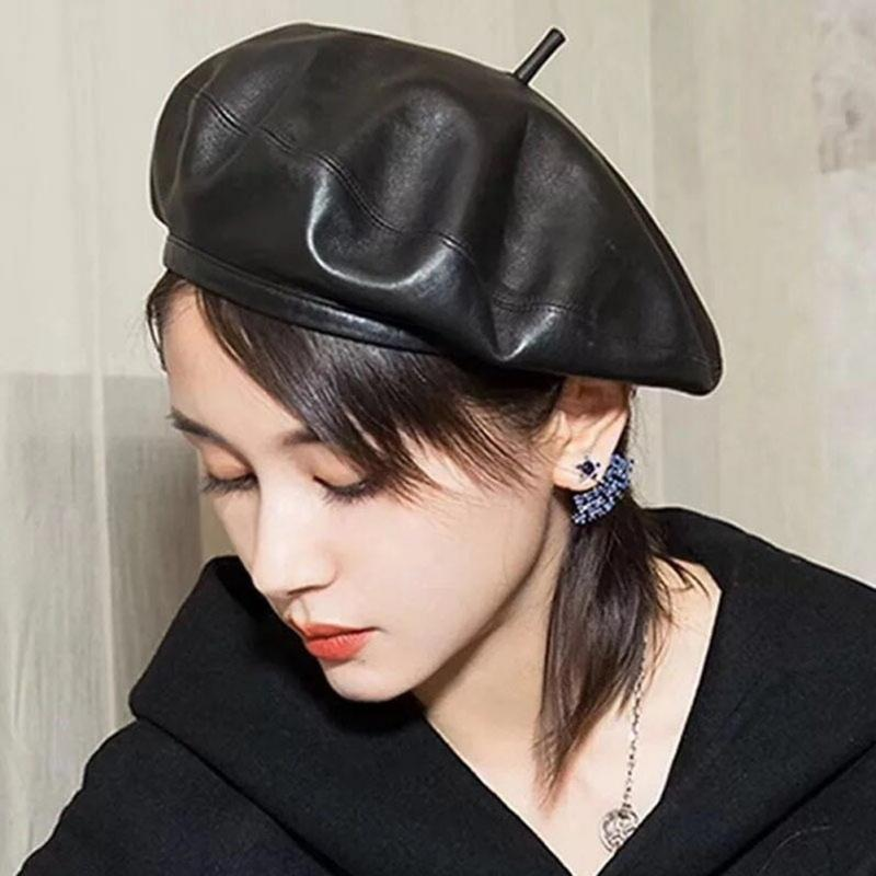 Fashion Women\'s Man Berets Pumpkin Beret Painter PU Hat Solid Color Outdoor Ladies Femme Hat Sombrero Mujer 2020 New