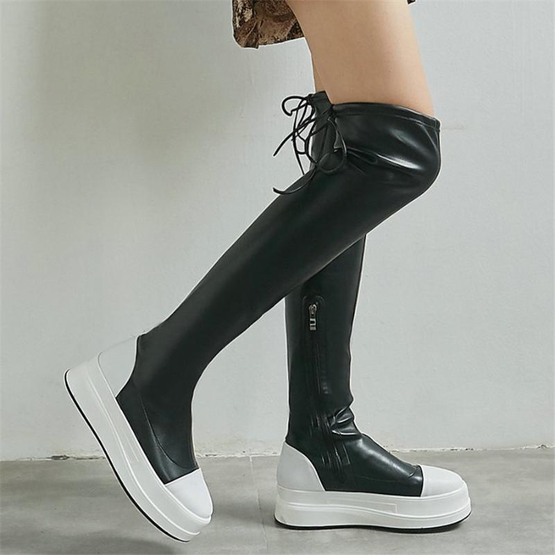 Bottes Casual Chaussures Femmes à lacets Cuir de vachette Haute talon Haut sur le genou Femme Steel Stearny Sneakers Plateforme Cendres