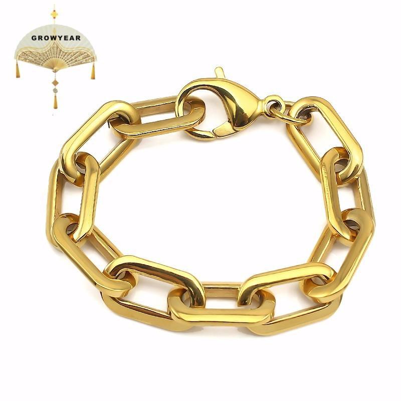 Нержавеющая сталь мужской браслет Женщина и мужчина ювелирных изделий Толстые Прямоугольник Браслеты Золото Цвет никогда не увядает Ширина 12мм моды