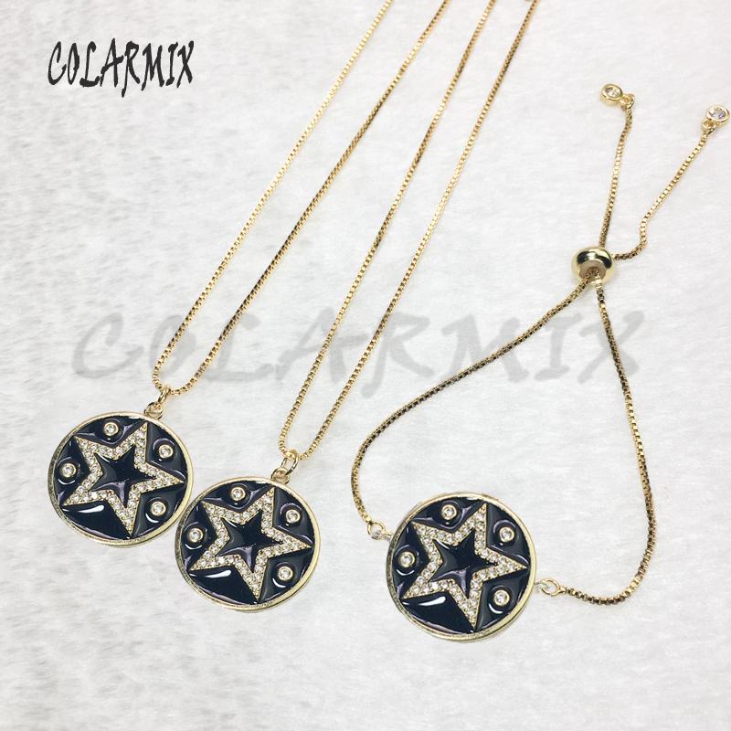 Collier bijoux étoile noire pendentifs ronds collier étoile bijoux oeil ensembles bijoux accessoires brace pour les femmes 5638
