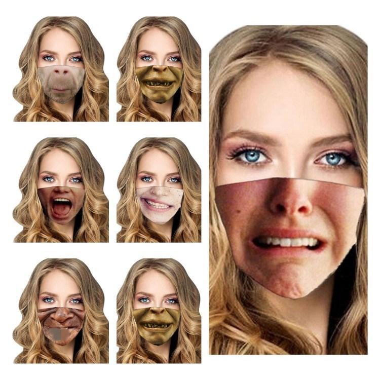 Sıcak Komik Yüz Toz Nefes Koruyucu Pamuk Ağız Yeniden Yıkanabilir Ucuz Halloween Maske Tasarımcı maskeleri T2I51480 Maskesi