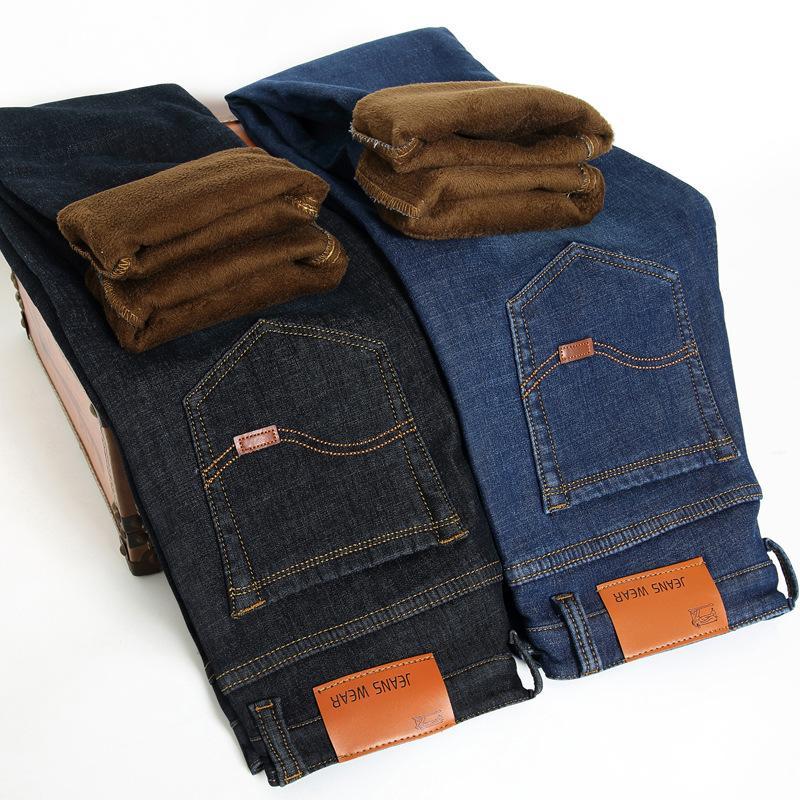 Jugend-Winter Strecke und Samt Jeans der Männer kleine gerade schlank Geschäft warme Größe Männer Hosen Denim