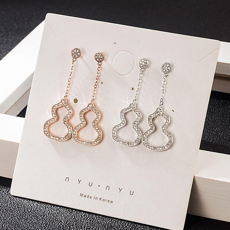 FEQQ1 nuovo micro-argento intarsiato creativo S925 zircone zucca di moda e orecchini delle donne del lungo nappa orecchini semplici