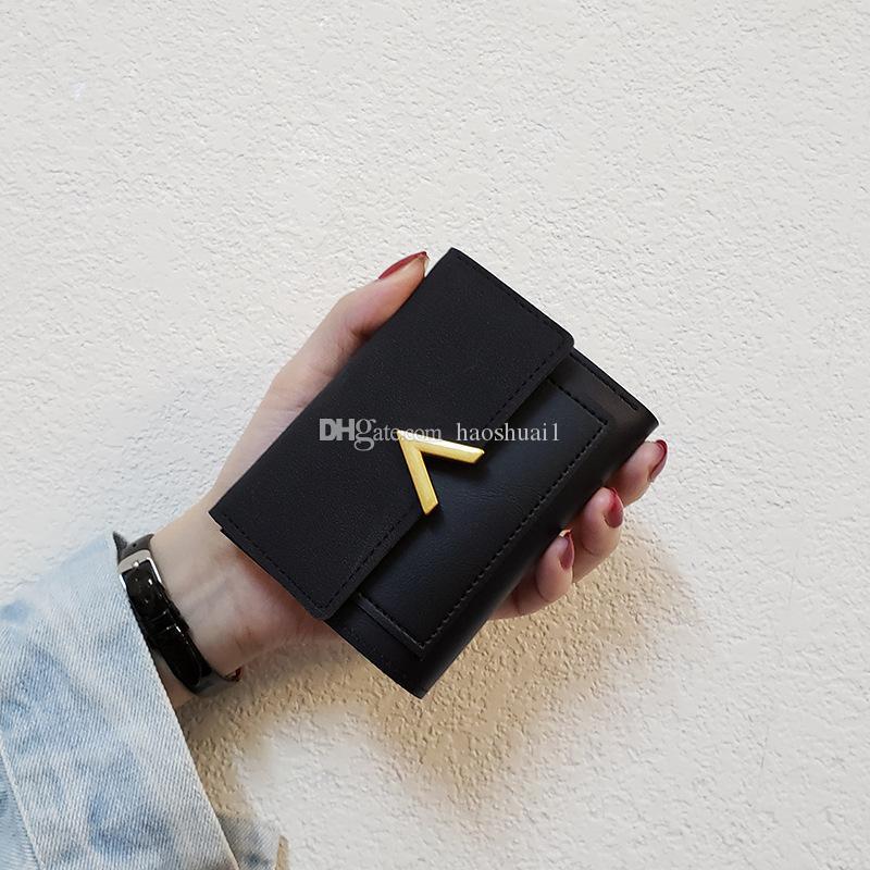 Designer neue V koreanische Brieftasche weibliche kurzer Absatz wilde Studentengeldbeutel, Dame Kartenbeutel, dreifache Geldbörse Trend freies Verschiffen