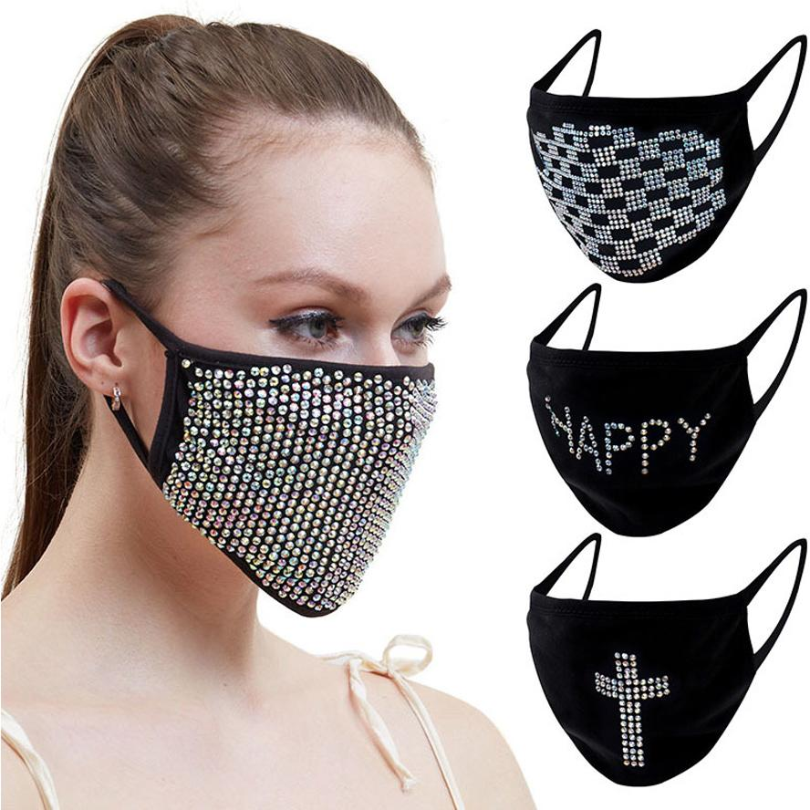 máscaras designer de rosto strass Preto moda neblina máscaras mulheres decoração diamante sequin máscara Natal poeira máscara espumante
