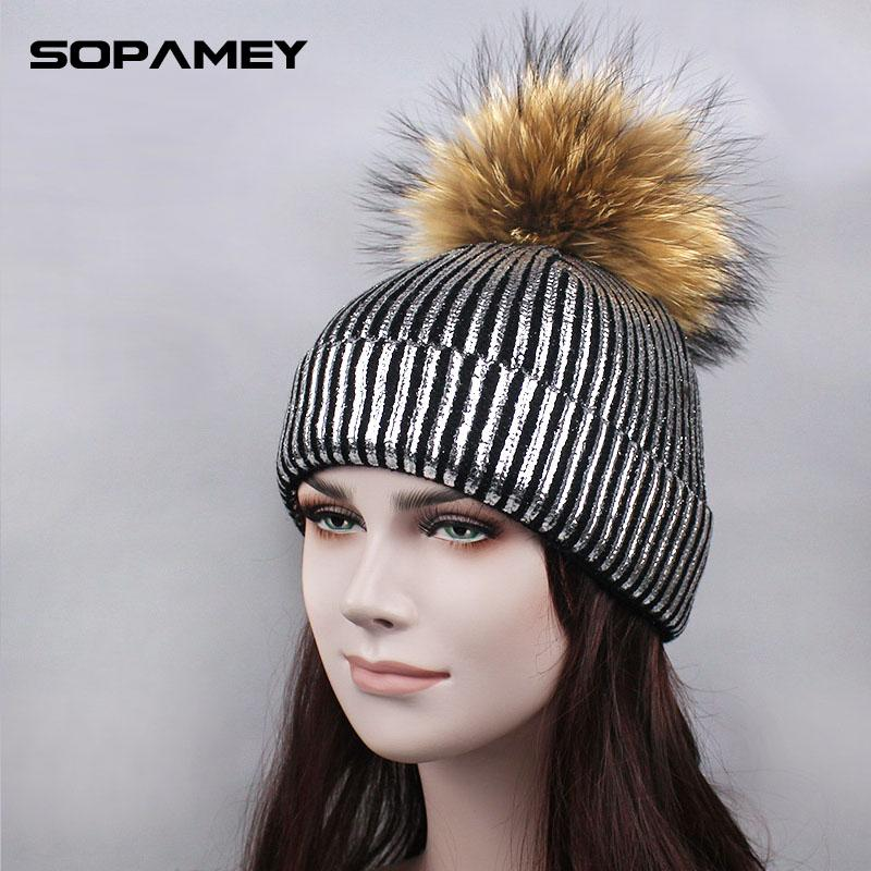 Winter Women's Beanies Hat Warm Knitted Beanies Real Fur PomPom Ladies Metallic Color Skullies Bronzing Gold and Silver with cap