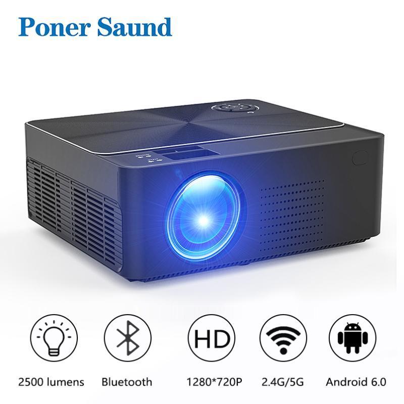 Proyectores Poner SAUND W2 Proyector HD Mini 4K Proyector 1280 x 720P Full LED Android WiFi para el hogar Cinema 3D juego