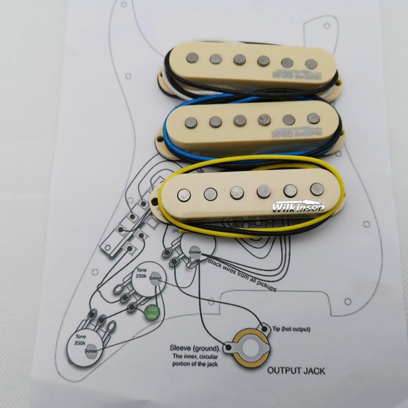 Pickup per chitarra elettrica Eleciric Wvs Single Bobina Alnico5 Pickups St Style Yellow 1 Set + Diagramma del circuito di saldatura