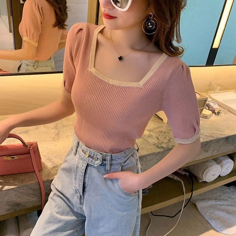 xTWjM рубашки соответствие трикотаж T- короткий рукав летом Топ T- Цвет верхней воротник базовый квадрата короткий небольшая тонкая рубашка для женщин