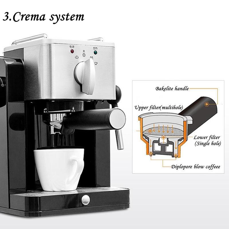 CUKYI 850W High Quality Италия Эспрессо 15бар высокого давления из нержавеющей стали Материал Полуавтоматическая кофе машина