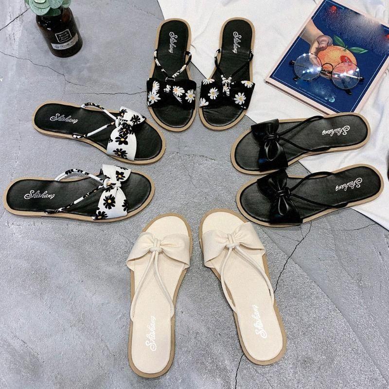 Estate IndoorOutdoor Non Slip Pantofole Bow Flats Zeppe aperte davanti selvaggio piatto Bowknot di slittamento non Pantofole Beach Women GH4A #