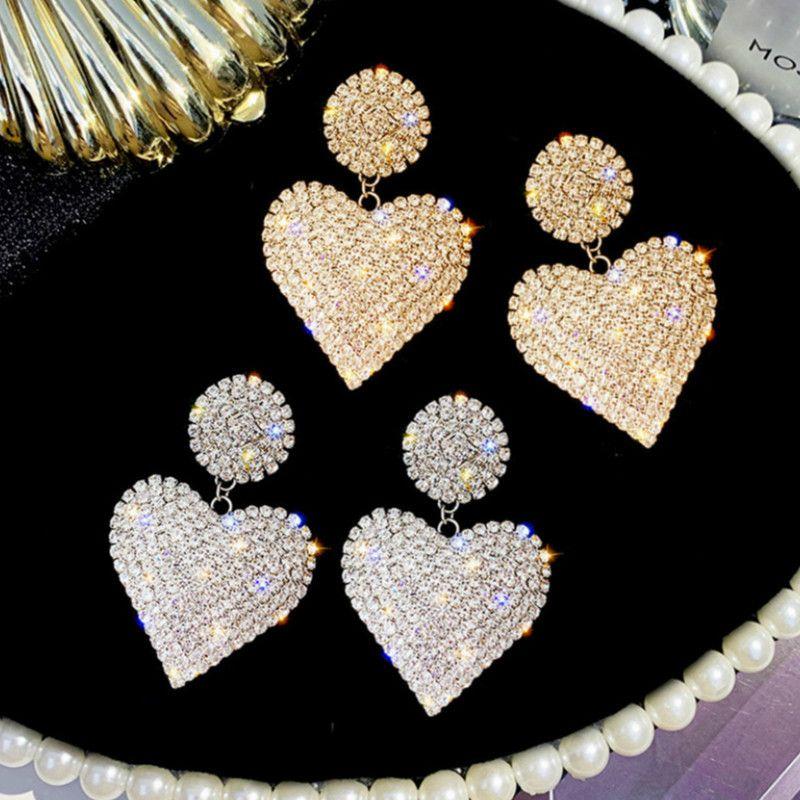 Pendientes de amor de la manera alta calidad del diseño del Rhinestone exagerado del corazón del melocotón de las mujeres pendientes de la aleación Ambiente