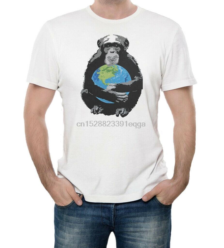 Macaco que abraça o planeta Terra Ecologia Impresso algodão branco Unisex Homens T-Shirt Adulto Verão StreeWear Tamanhos-3XL