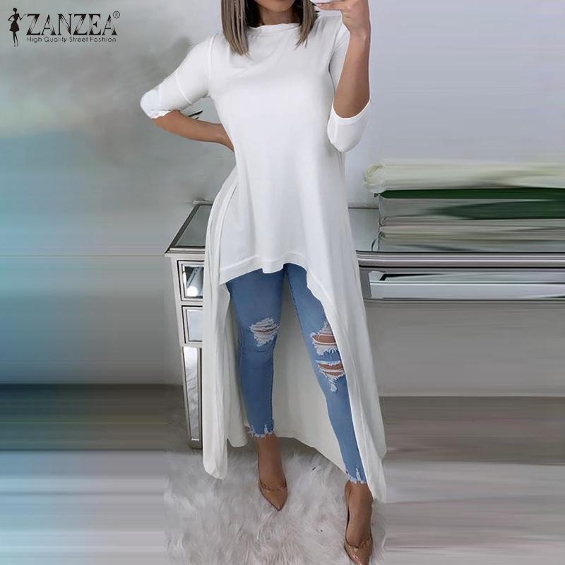 2020 Mode Printemps solide Haut Bas Chemisier ZANZEA Femmes Casual O manches longues col Parti manches longues Chemises Blusas Chemise Femme Vestido