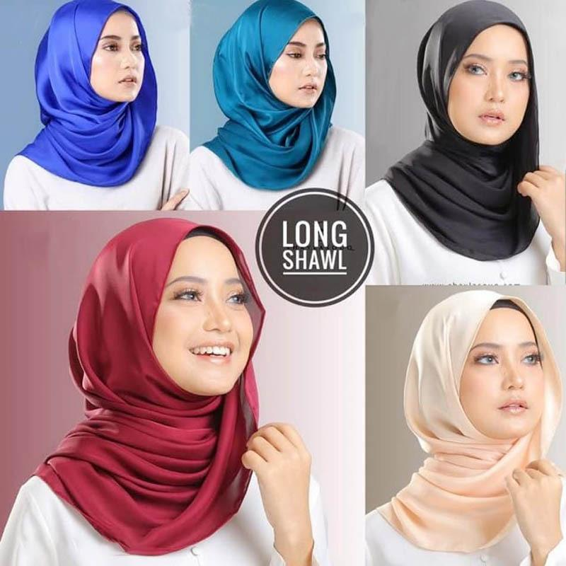 Women's plain malaysia satin silk hijab scarf Solid color long muslim scarves headband turban maxi muslim shawls
