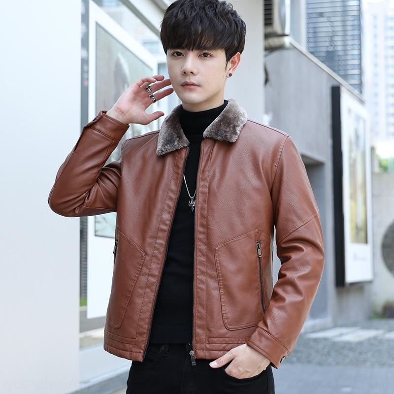 La capa de cuero de estilo coreano de ajuste estrecho juventud 2020 de los hombres de piel integrado en la capa más gruesa de piel de cuero ocasional del collar de los hombres apuestos 7j5Em
