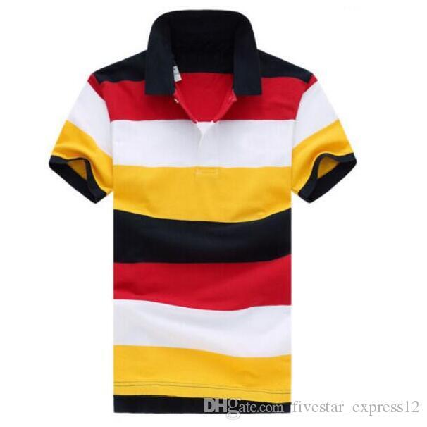 Moda Hombres Rainbow Polo Shirts 100% algodón Pequeño Caballo Bordado Casual Camiseta Camisa Americana Polos de rayas Tamaño S-XXL Rojo Azul Amarillo
