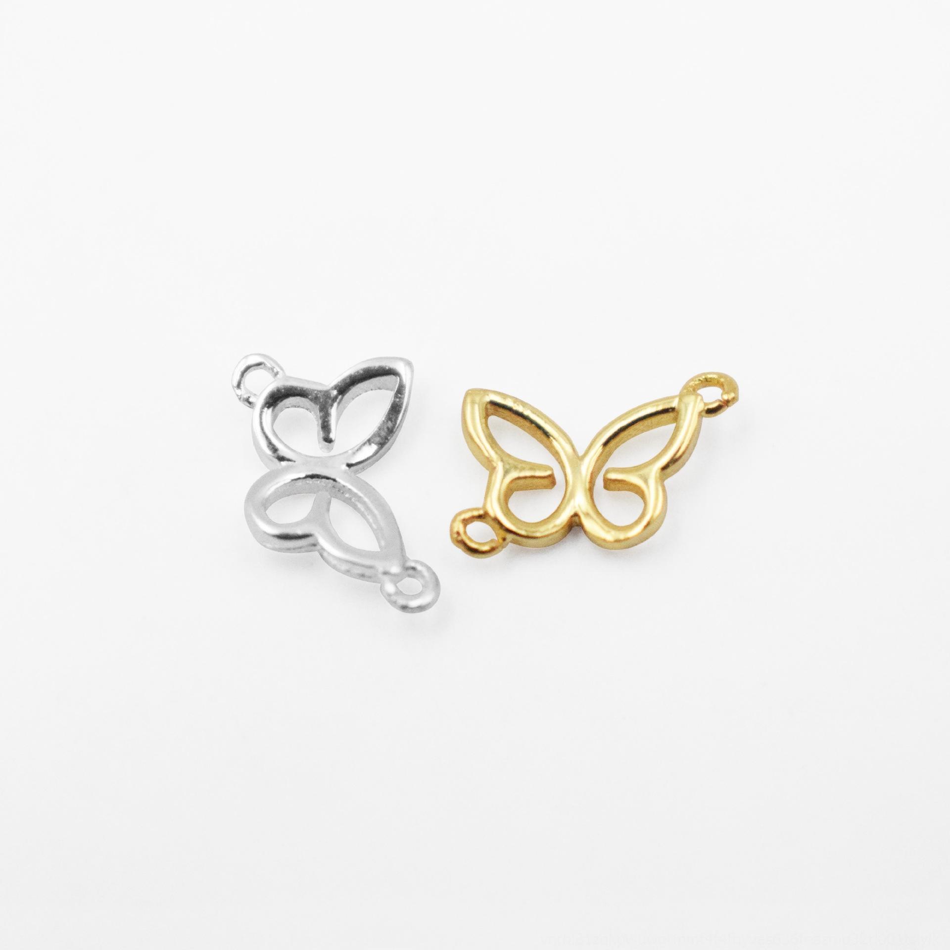 n4T7Z S925 accesorios lisos de cadena pendiente de cadena de plata de la mariposa de oro colgante gargantilla de cuentas de collar pulsera de plata de DIY