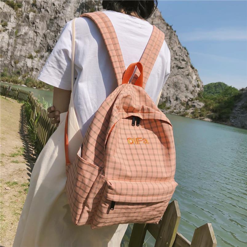 DCIMOR Мода Плед Женщины Рюкзак Женщины Хлопок холст для портфель девочек-подростков, путешествия рюкзаки моды вышивка Mochila