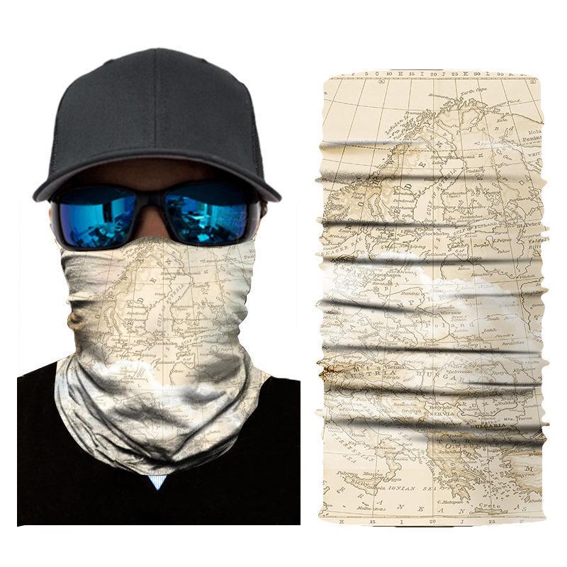 Бесшовный шарф Спортивень магия оголовье солнцезащитного крем велосипедной шея манжета цифровая печататься ретро карты маска