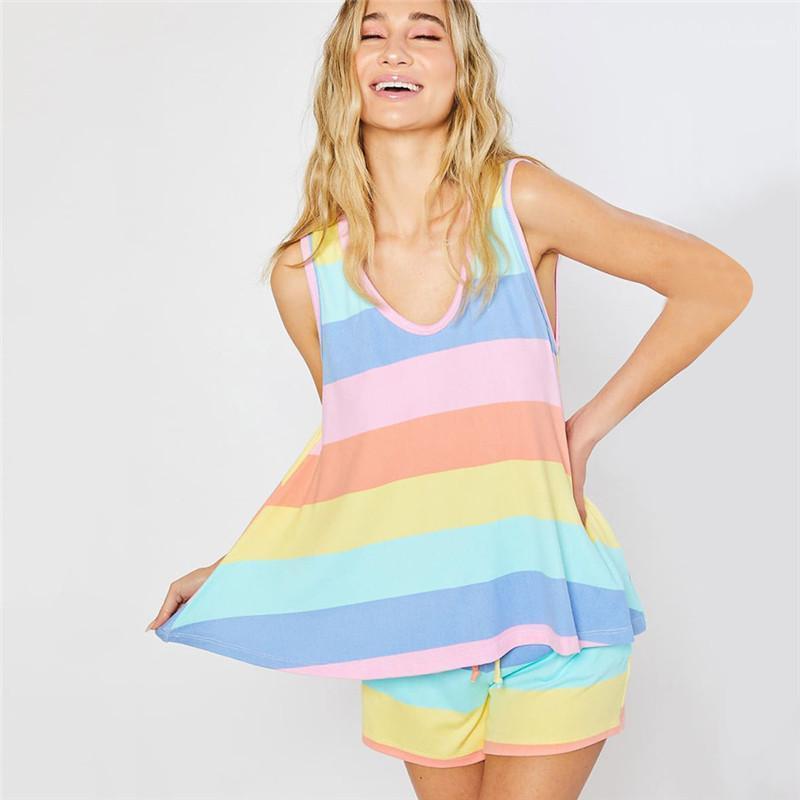 Нижнее и ночное белье Casual рукавов Crew Neck пижамы женщин нижнее белье женщин пижамы Полосатый Щитовые пижама Комплекты моды контрастного цвета