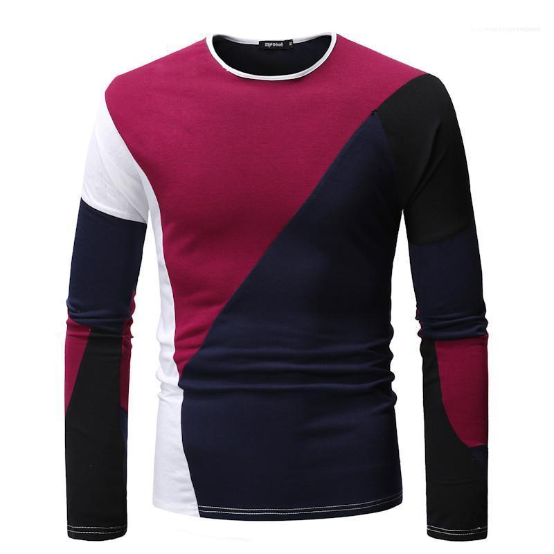 Slim Tops Male Clothing Mens 2020 Luxury Designer Tshirt Long Sleeve Crew Neck Panelled Tees Fashion