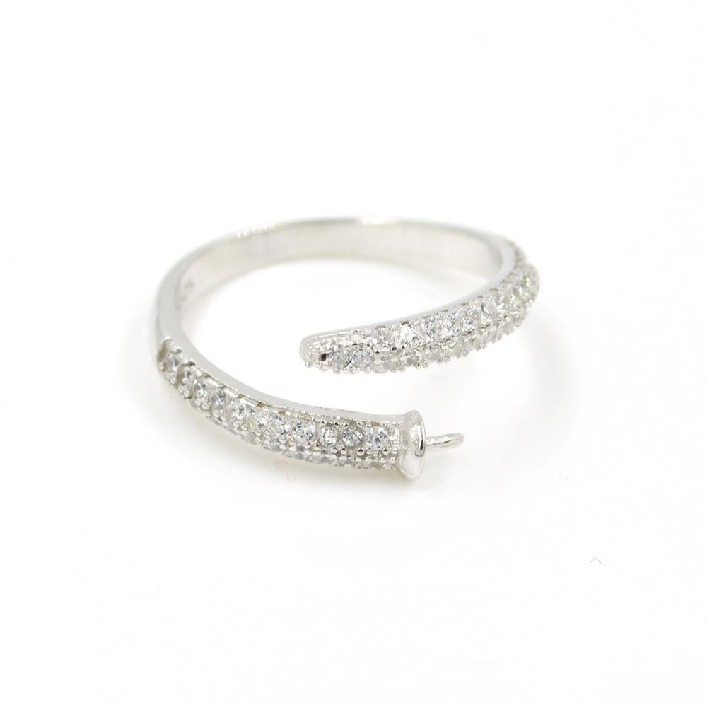 S925 Gümüş Yüzük Aksesuar İnci Yüzük Mounts Aksesuarlar Diy Yüzük Destek Seti Ayarlanabilir Yılan Şekilli Gümüş Setleri boşaltın
