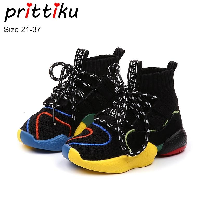 Осень 2018 малышей Мальчики Девочки Горячие носки тапки маленький ребенок высокий Top Knit пинетки Большой Дети Мода Школа марка спортивной обуви Y200919