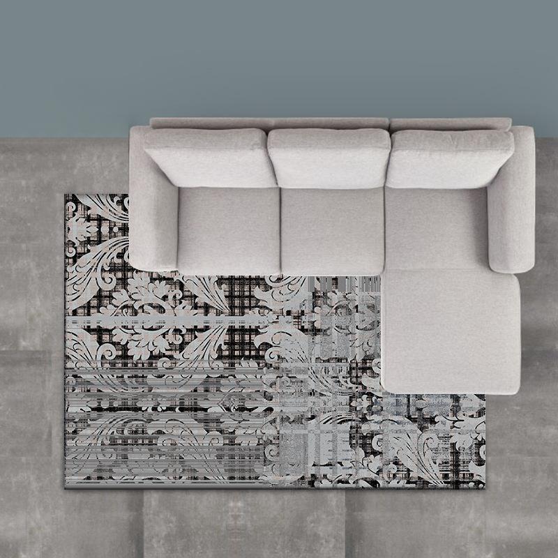 Nordic абстракция Полосатый цветок темно-серый ковер Спальня прикроватный коврик гостиной большой коврик плюшевых нескользящей коврик дверь