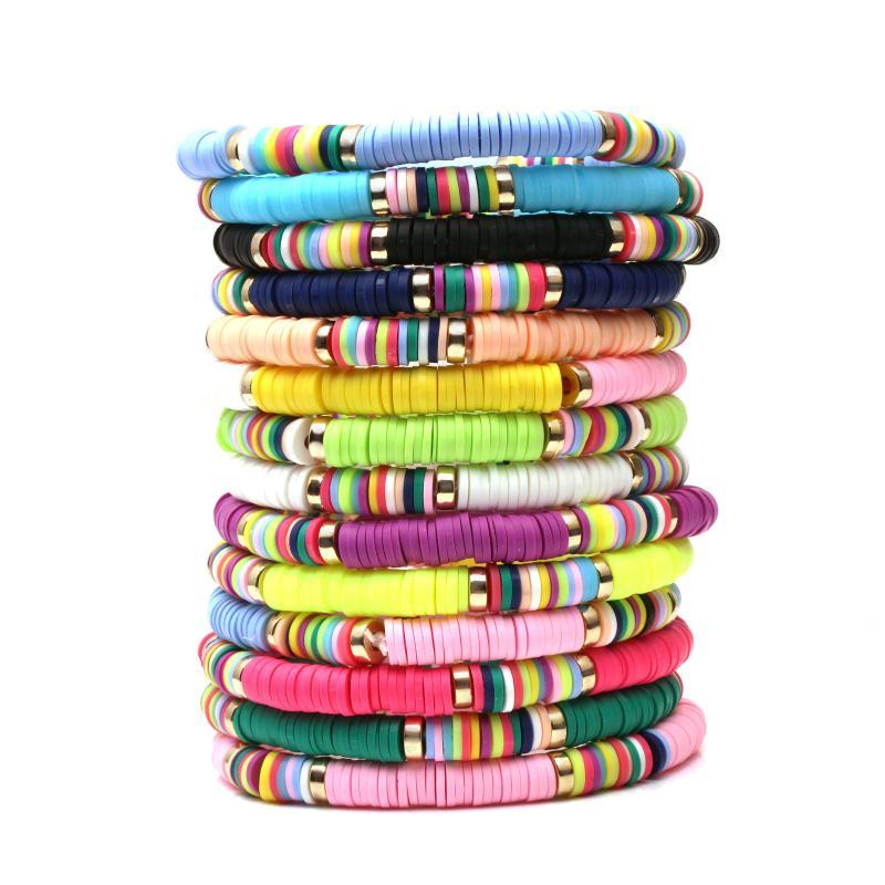 New 6 milímetros Elastic pulseira artesanal étnica Polymer Clay Bracelet para as Mulheres Homens ajustável Bohemian Beads Charm Bracelet Couple Praia Acessório