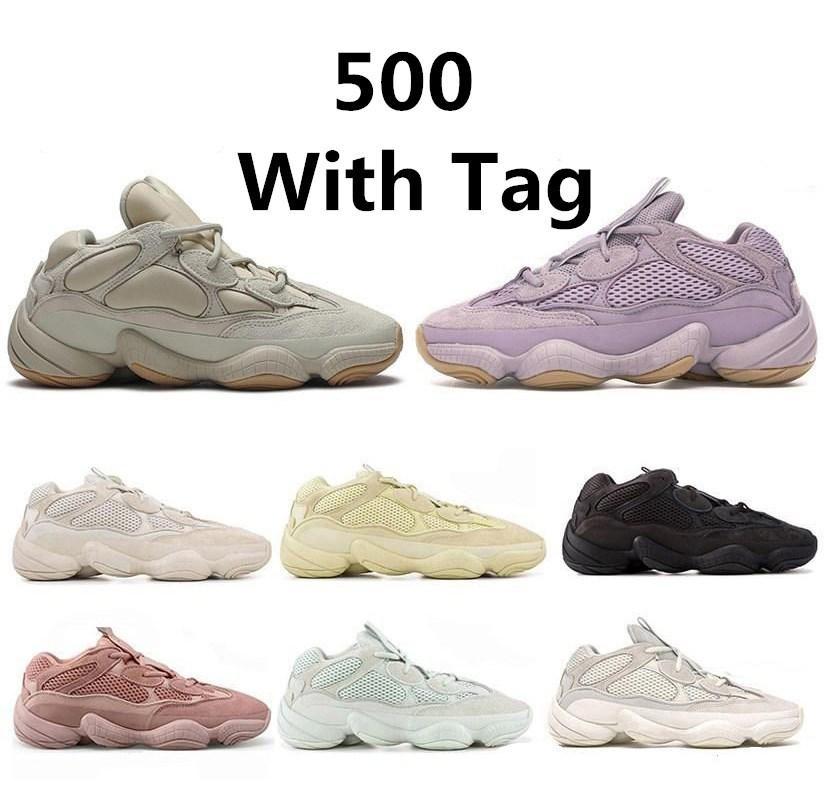 Top 500 Kanye West Soft Видение камень Desert Rat кроссовки кости белый Полезность черный Соль супер луна желтые мужские тренеры кроссовки
