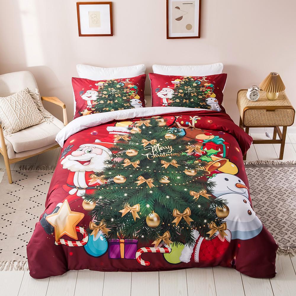 yatak yılbaşı kraliçe yatak nevresim setleri 3D dijital baskı yatak Noel serisi süsleri setleri