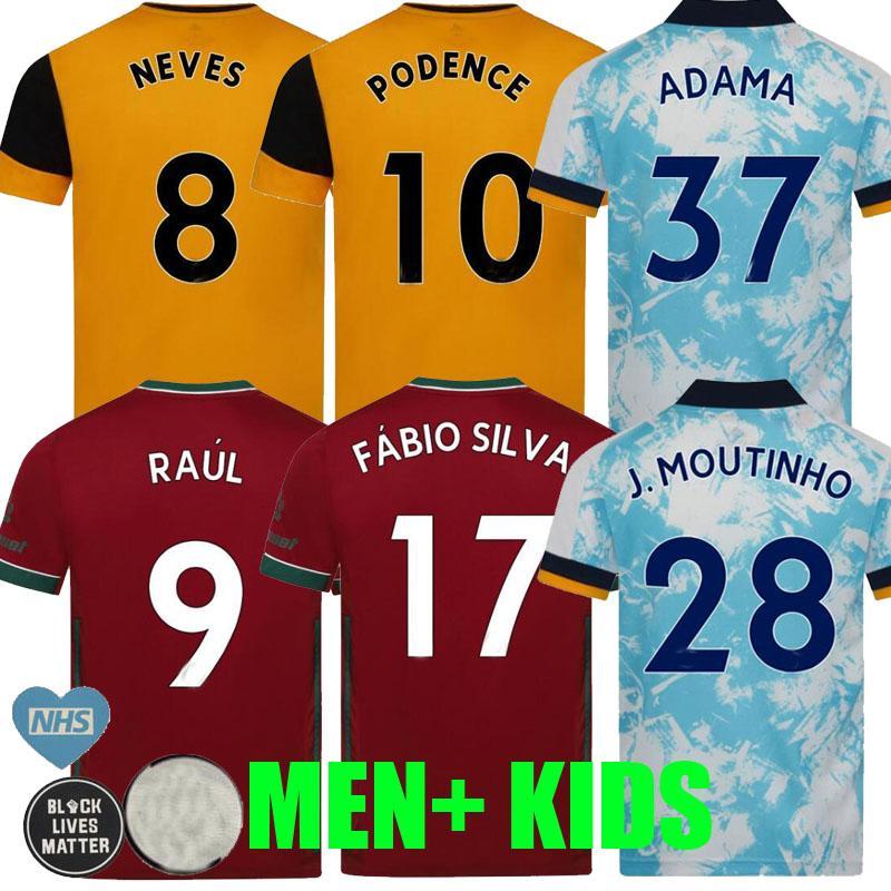 2020 2021 Wolves troisième maillots de football à l'extérieur 20 21 FABIO SILVA J.MOUTINHO RAUL NEVES Podence ADAMA hommes enfants Gardien de but de football CHEMISES uniformes