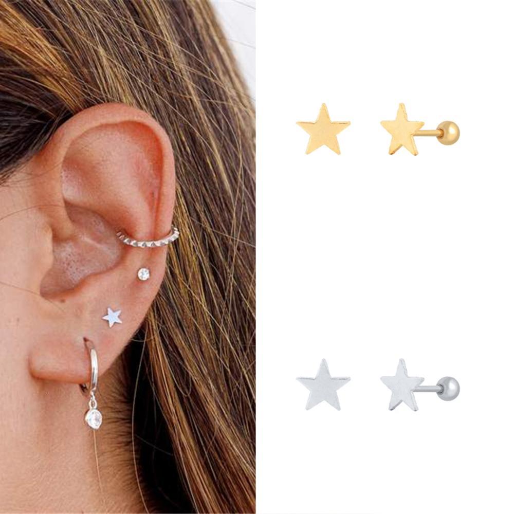 1Pair 925 стерлингового серебра стержня для женщин Простой Лаки пентаграмма пирсинг моды минимализма Хряща серьги