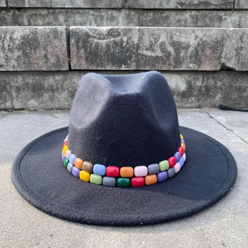 2Size lana delle donne di colore cappello di Fedora acrilico gemme Tesa larga protezione di jazz Cappello Panama Top Sun