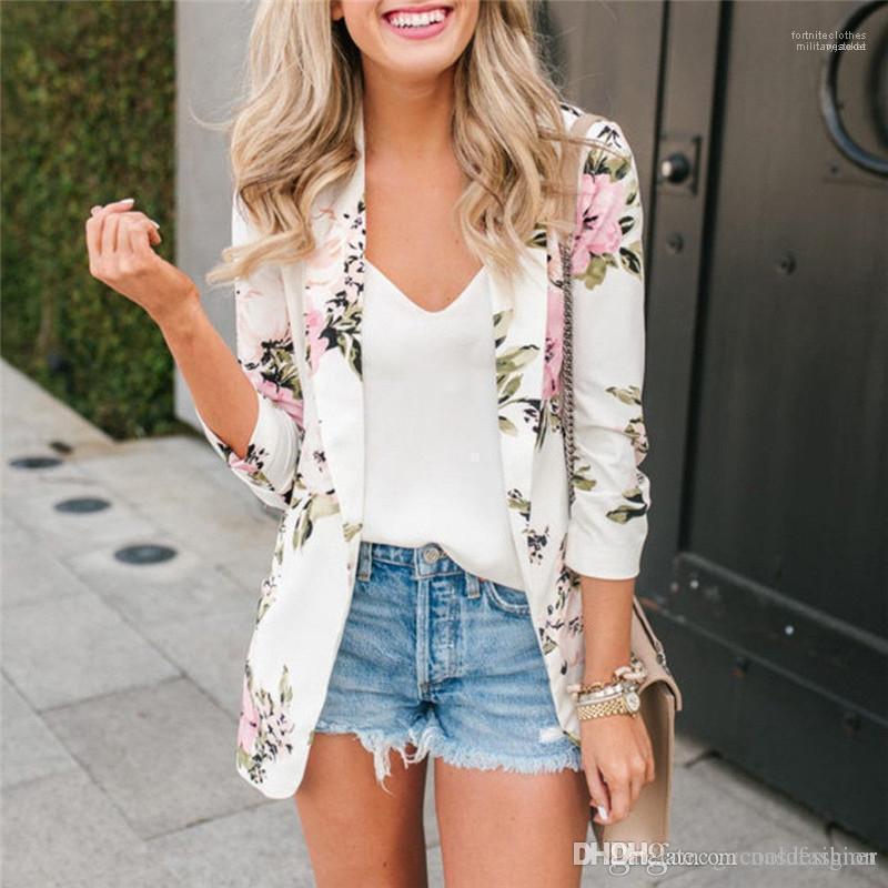 포켓 여자와 디자이너 꽃 인쇄 블레이저 코트 패션 봄 옷깃 목 여성 코트 캐주얼 패널로 여성용 겉옷