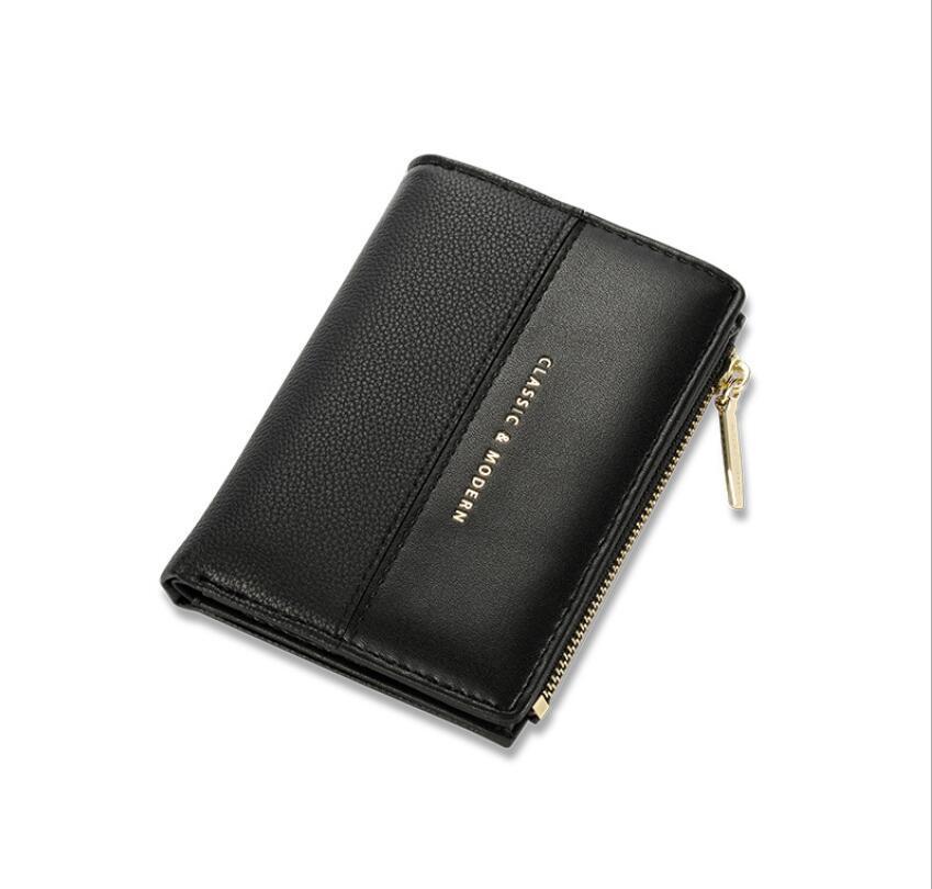 Neue Zweifache kurze Brieftasche Einfache Ultra dünn genäht Frauen Geldbörse