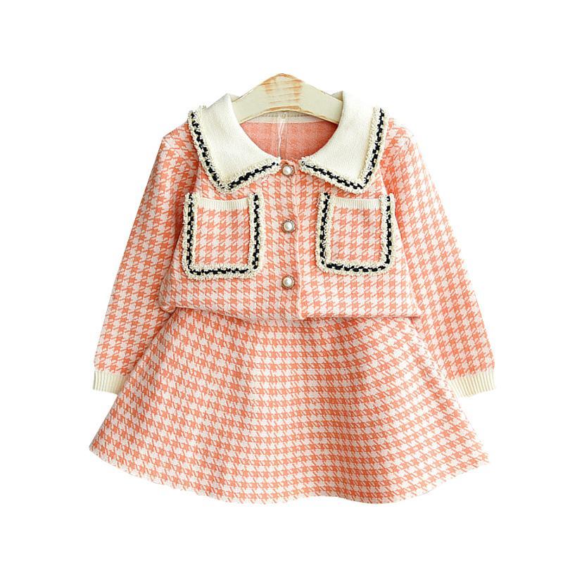 Vestido de novia vestido de niña de Navidad nueva manga larga vestidos para niñas tela escocesa de moda de Halloween ropa de la muchacha Traje 2-6 años