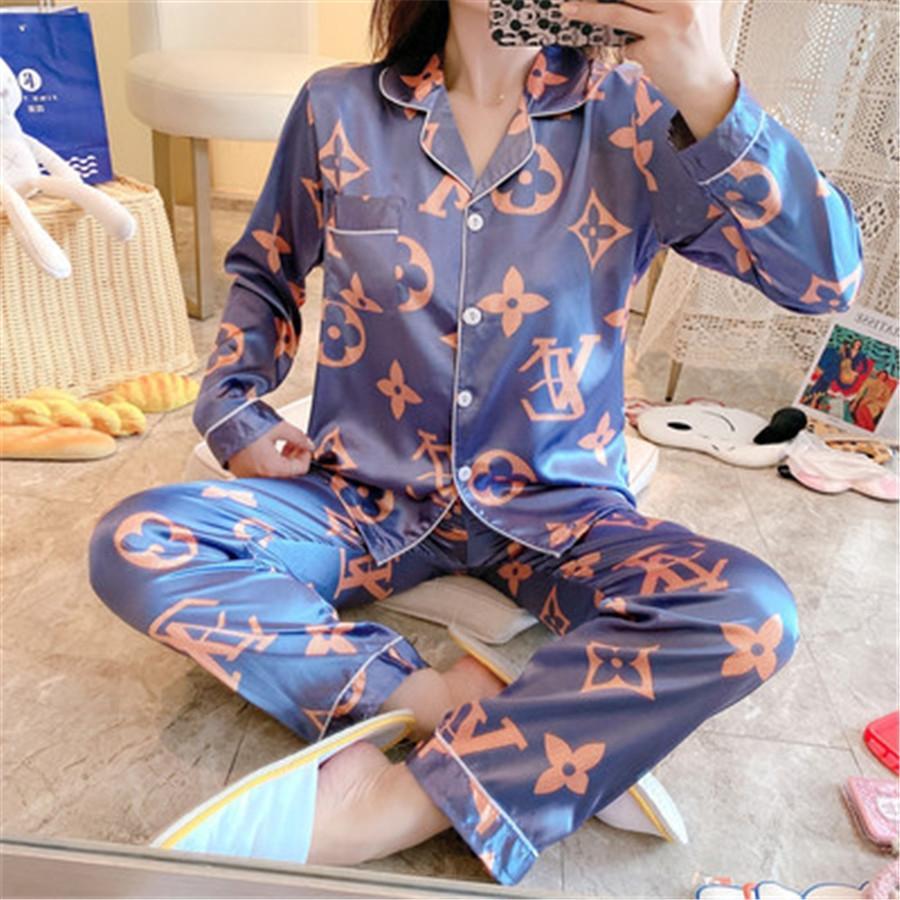 Hot Pigiama Coppie unisex fiore di seta stampato Sleepwear morbida Pajama Set Donne Pajama Imposta uomini maniche Long Lounge Pigiami # 570