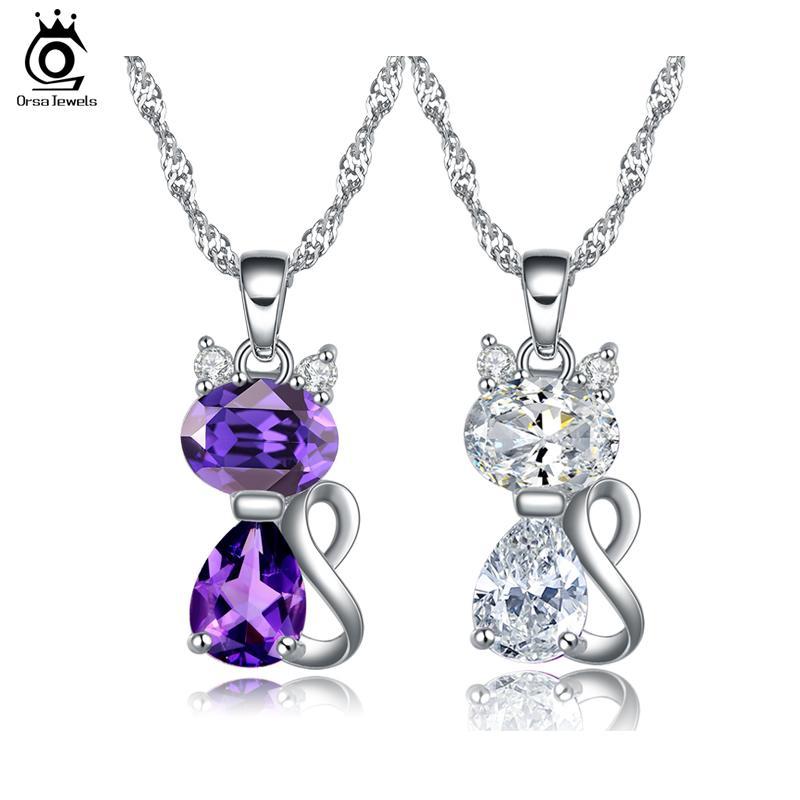 ORSA JOYAS 2020 joyas de moda linda del gato colgantes del collar con 1,8 collar Cubic Zirconia austriaca para la Mujer ON77