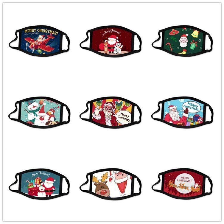 Pamuk Yüz Noel Moda Baskı Anti-toz Yıkanabilir Yeniden kullanılabilir Ağız Kapak Parti Hediye Noel Dekorasyon GWB1939 Maske Maske