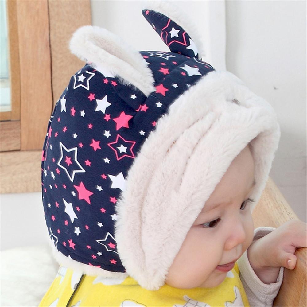 Niños casquillos calientes conejo de dibujos animados en movimiento de la estrella gorro de lana bordado bufanda capo del bebé Enfant Sombrero lindo para ofertas Niño Niña 1D19M62S